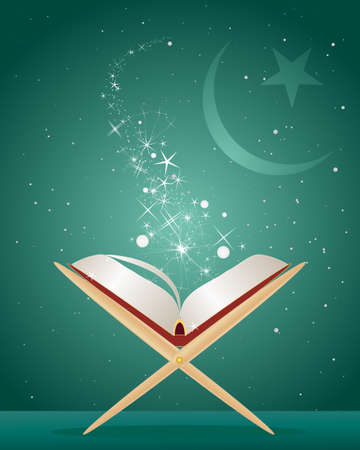 koran: an illustration of the holy koran on a stand open with light and sparkles in front of an islamic crescent moon and star and green background