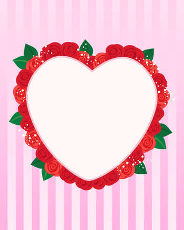 february 14th: an illustration of a valentine greeting in a heart shape surrounded by red roses and foliage on a striped pink background Illustration