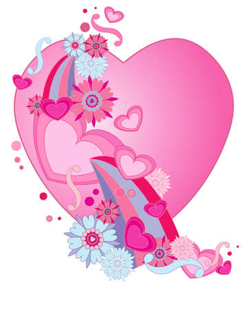 february 14th: an illustration of a retro valentine heart design with stylized flowers swirls and shapes isolated on a white background