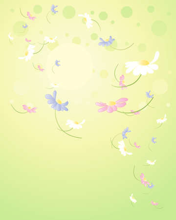 with space for text: an illustration of beautiful spring flowers scattered on a green yellow sunshine background with space for text Illustration