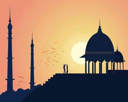 setting sun: an illustration of beautiful asian architecture with domes and spires in an urban landscape under a setting sun Illustration