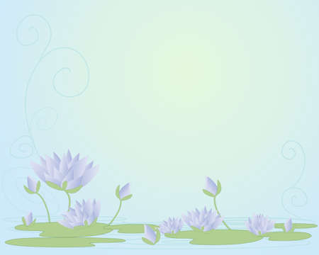 lily pads: an illustration of beautiful purple water lilies in abstract form with open flowers buds and lily pads on a swirly water background