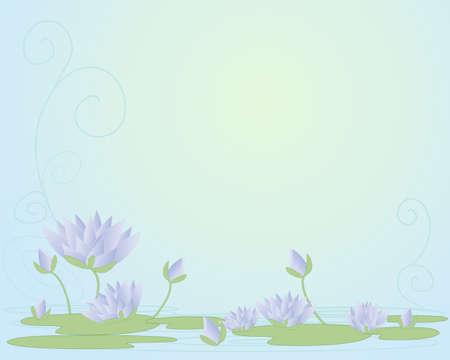 water lilies: una ilustraci�n de hermosos nen�fares morados en forma de resumen con los brotes de botones de flores y hojas de nen�far en un fondo swirly agua Vectores