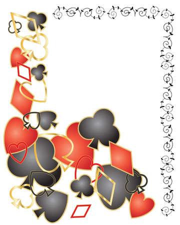 playing card symbols: una ilustraci�n de rojo y negro jugando s�mbolos de la tarjeta con la decoraci�n de oro esparcidas sobre un fondo blanco con el espacio para el texto