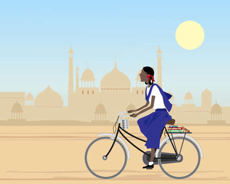 an illustration of an asian schoolgirl on her way to college riding a bicycle with books and lunch tiffin in an indian city under a blue sky Vector