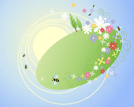 an illustration of a summer scene in abstract form with stylized trees flowers bees and foliage on a sunny blue sky background Stock Vector - 17621925