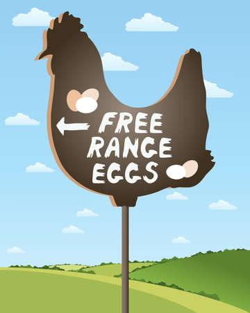 chicken and egg: an illustration of a home made sign advertising free range eggs in beautiful countryside scenery under a summer sky