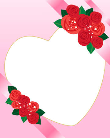 nosegay: an illustration of a valentine greeting with heart shaped card for text pink ribbon and red rose decoration Illustration