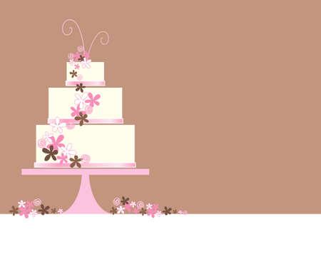 een illustratie van een abstracte drie lagen bruidstaart met gestileerde bloemen en decoratie op een bruine achtergrond met ruimte voor tekst
