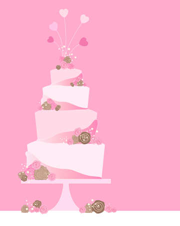 tier: an illustration of a four tier celebration cake greeting card with roses and heart decoration on a pink background with space for text Illustration