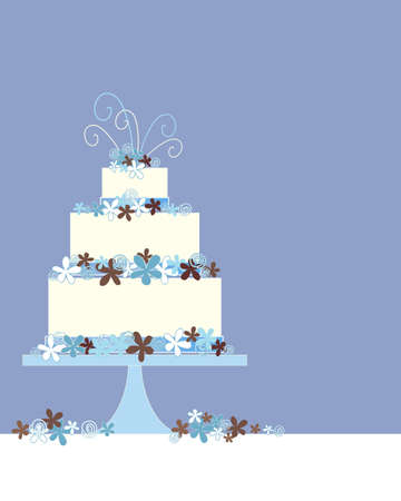 wedding cake: an illustration of a three tier wedding cake greeting card with flower and swirl decoration on a blue background with space for text Illustration