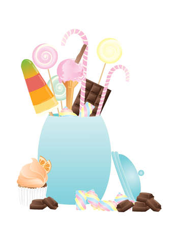 an illustration of a ceramic candy jar with lollies cupcake chocolate and candy canes on a white background Vector