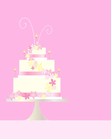 dessert stand: an illustration of a three tier birthday cake greeting card with flower and swirl decoration on a pink background with space for text