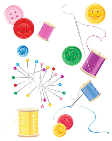 yarns: an illustration of pins cotton reels needles thread and buttons in various colors isolated on a white background