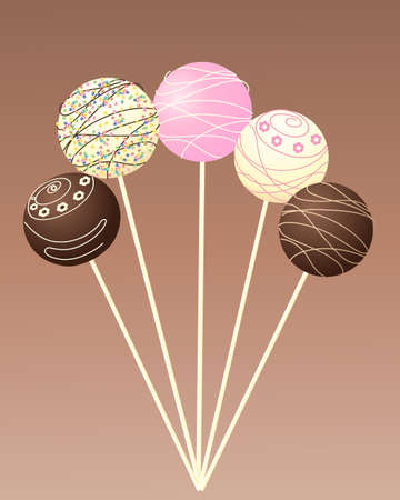 an illustration of some delicious cake lollipops decorated with flowers sprinkles and piping on a chocolate background Stock Vector - 18447050