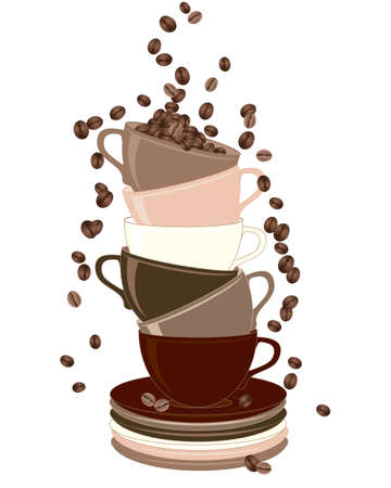 an illustration of a stack of cups and saucers with coffee beans tumbling down isolated on a white background Vector