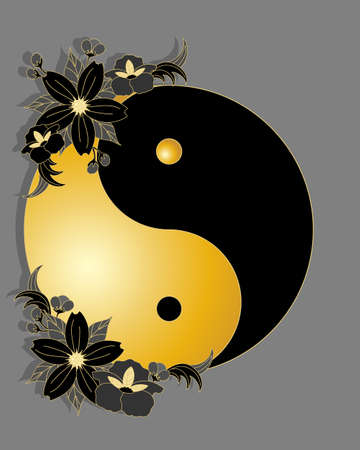 ying and yang: an illustration of an oriental greeting card with a ying yang symbol in black and gold with matching decorative flower design