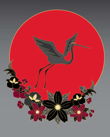 an illustration of a japanese crane flying above black gold and red stylized flowers in front of a big red sun Vector