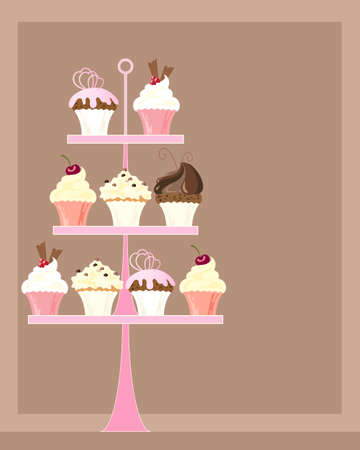 an illustration of a pink cake stand with a selection of delicious decorated cupcakes on a chocolate background with space for text Çizim