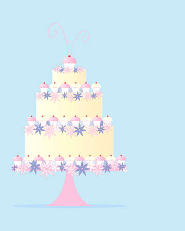 an illustration of a fancy three tier celebration cake in a greeting card design with flowers and cupcakes on a baby blue background with space for text Vector