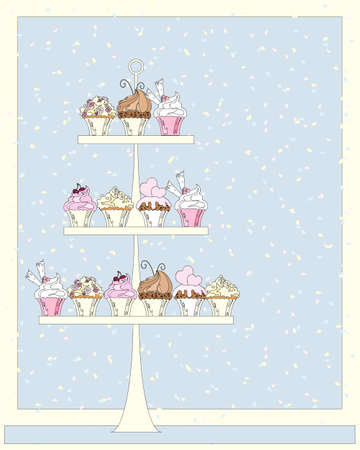 an illustration of a cake stand for a wedding filled with delicious cupcakes reflecting a marriage theme with a confetti background
