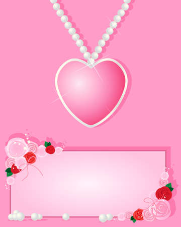 an illustration of a love heart necklace greeting card design with romantic roses and foliage on a pink background Vector