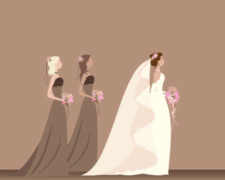 an illustration of a bride with flowers walking with two bridesmaids on a pink and brown color scheme Vector
