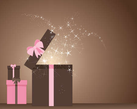 an illustration of a pink and brown magic gift box opening up with glitter and sparkles on a chocolate background Vector