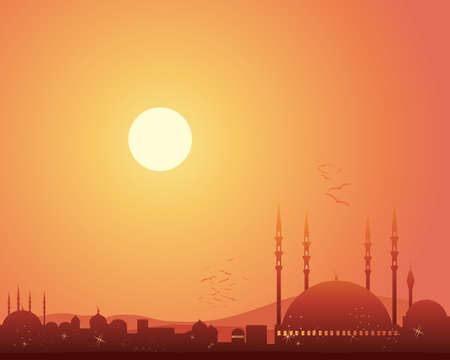 minarets: an illustration of a middle eastern skyline at sunset with a beautiful mosque lit up in the warm evening sunshine