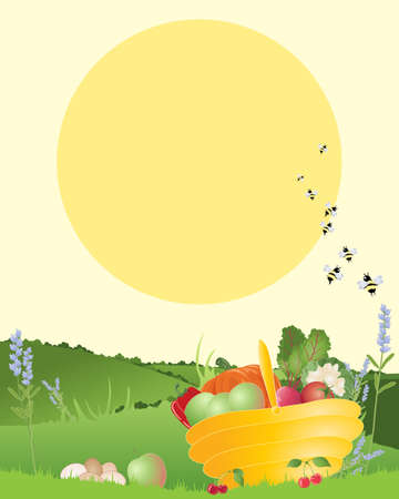 home grown: an illustration of a basket of home grown organic fruit and vegetables in a beautiful country landscape with a big yellow sun in summer