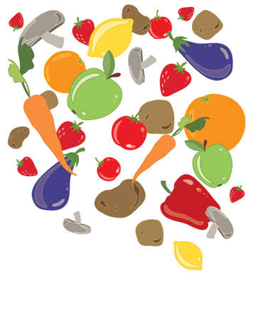 home grown: an illustration of organic fruit and veg tumbling from above isolated on a white background