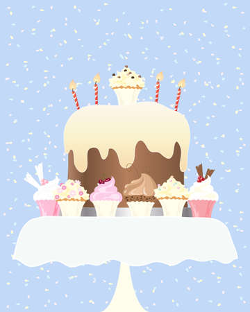 cake with icing: an illustration of a big birthday cake with candles and delicious cupcakes on a small table with colorful confetti background