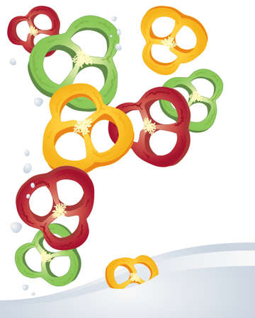 home grown: an illustration of slices of red yellow and green peppers tumbling in to water on a white background