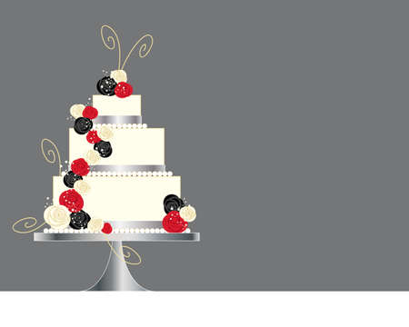 tier: an illustration of a modern three tier wedding cake greeting card design with black red and white roses and golden swirls on a gray background