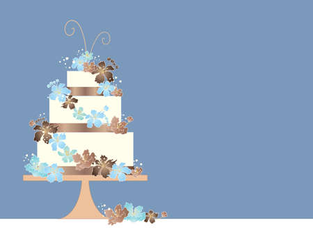 wedding cake illustration: an illustration of a three tier wedding cake greeting card design with blue and brown theme and decorated with matching blossom flowers on a duck egg blue background