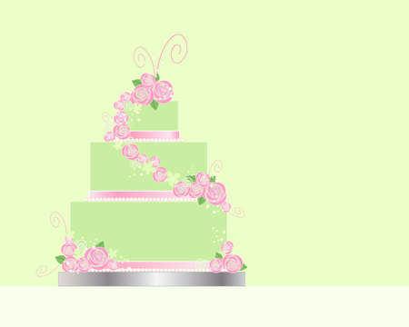 an illustration of a three tier wedding cake greeting card design with lime green and pink theme and decorated with pink roses ribbon and swirls on a green background Stock Vector - 19019474