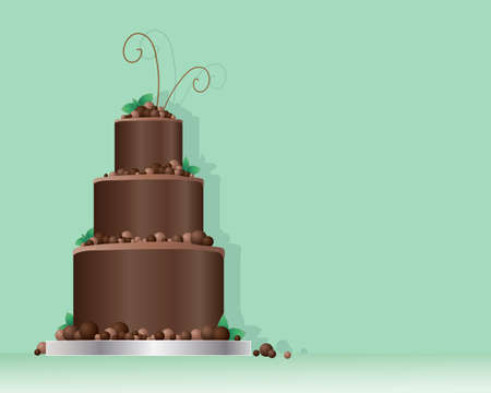 chocolate swirl: an illustration of a celebration cake in a contemporary design with chocolate balls and mint leaves on a minty green background with space for text Illustration