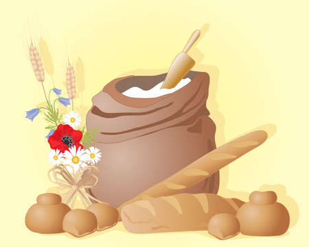 sacks: an illustration of a flour sack and scoop with bread loaves  buns and a wildflower posy on a sunny yellow background with space for text