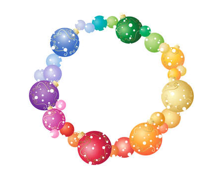 an illustration of a colorful christmas bauble wreath with gold decoration isolated on a white background