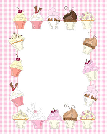 an illustration of a variety of decorated cupcakes surrounding a white card for text on a light pink gingham background