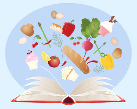 recipe book: an illustration of a recipe book with open pages and various food ingredients on a blue background