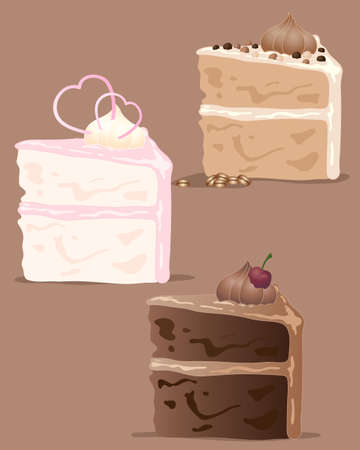 an illustration of a variety of cake slices in different flavors with decoration on a brown background