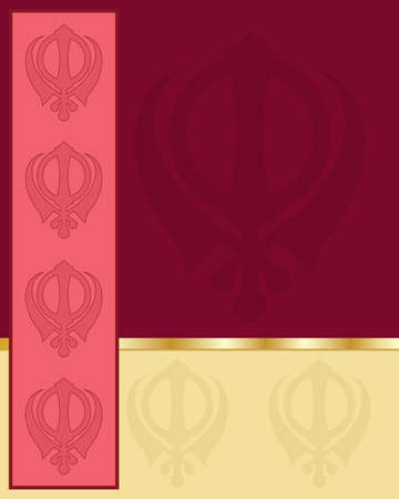 sikhism: an illustration of a punjabi style greeting card with blocks of color showing the sikh symbol on a deep red background