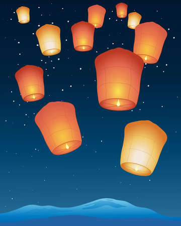 an illustration of chinese sky lanterns with bright flames floating away into a starry night sky Vector