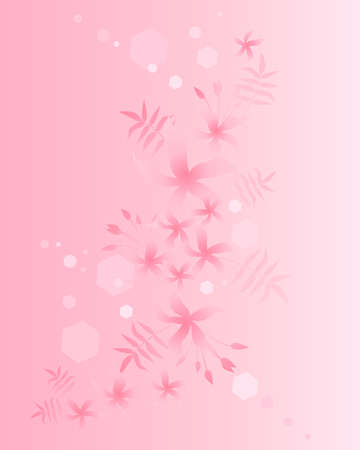 glistening: an illustration of a jasmine floral background in a greeting card design with a pink theme in glistening light
