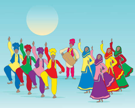 india culture: an illustration of a punjabi folk dance with men and women in traditional dress and musician on a blue green background Illustration