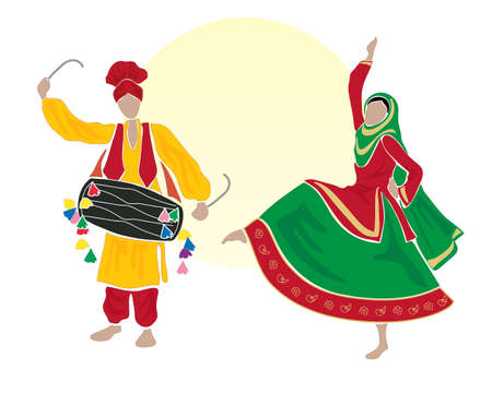 sikhism: an illustration of male and female bhangra dancers dressed in traditional clothes on a white background with a big yellow sun Illustration