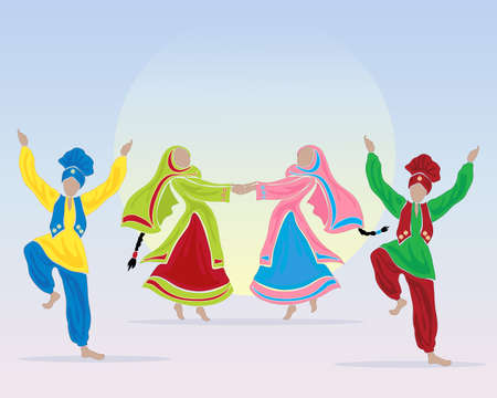 sikhism: an illustration of punjabi dancers prforming a folk dance in traditional dress on a blue background with a big sun