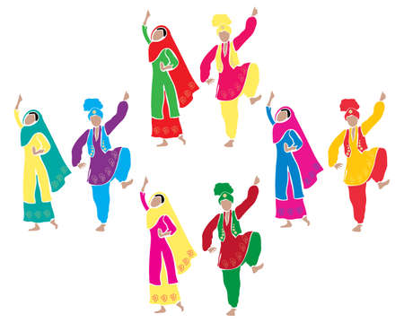 sikhism: an illustration of traditional punjabi bhangra dancing with four couples dressed in colorful costumes on a white background