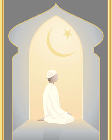 muslim prayer: an illustration of an islam devotee praying in a mosque in a lighted archway with star and crescent moon symbol Illustration